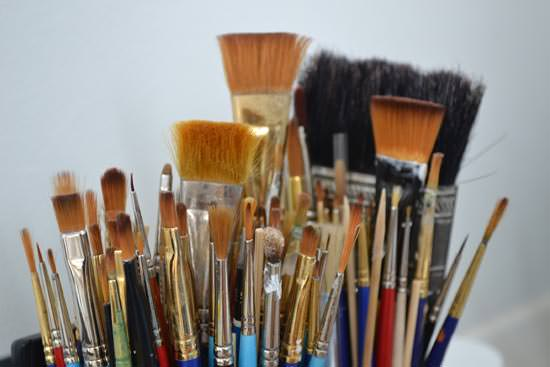 Artisan collection of paint brushes to be used for ceramics repair and antique repair