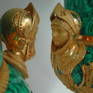 Detail of restored gilded handle on pair Nicholas II Imperial porcelain vases. Restoration and Conservation for collectors