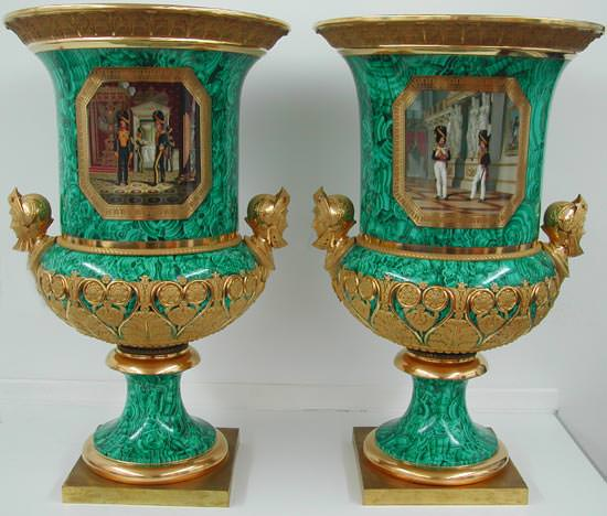 Pair campana form trompe l'oeil malachite ground porcelain vases, Imperial Porcelain Manfactory, period of Nicholas I