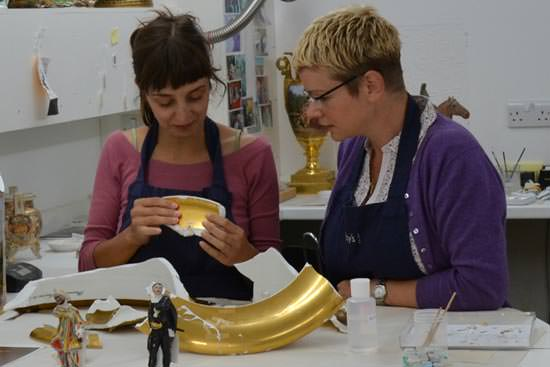 Sarah and Jasmina discussing the treatment of the Berlin Vase - conservators discussing approach to conservation of a valuable broken object ready for repair.