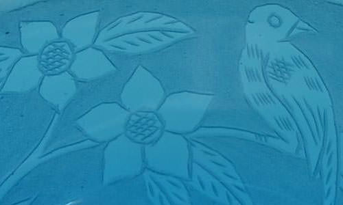 Chinese Pekin turquoise engraved glass bowl